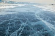 Stock Photo of winter ice road through baikal