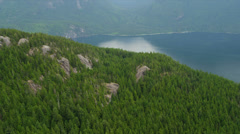 Aerial view Harrison Lake freshwater lake sun reflection  wilderness, Canada Stock Footage