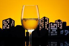 Metropolis white wine Stock Illustration