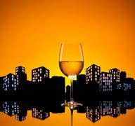 metropolis white wine - stock illustration