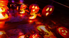 Helloween - Pumpkins and Lanterns on a Table Stock Footage