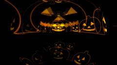 Helloween Cartoon Pumpkins Outlines Stock Footage