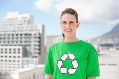 Smiling environmental activist outside Stock Photos