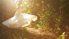 Stock Video Footage of Young Woman Vintage Dress Spinning Forrest Happiness Slow Motion