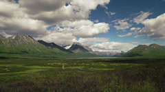 Yukon Tundra Mountains and Storm over Lake TL Stock Footage