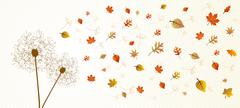 fall season dandelion tree leaves composition background eps10 file. - stock illustration