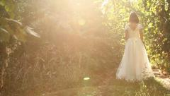Vintage Dress Woman White Bride Forest Nature BAckground Stock Footage