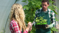 Young gardener showing plants to buyer Stock Footage