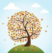 Stock Illustration of fall season vintage banner global composition concept eps10 file.
