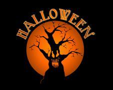halloween text spooky tree over orange moon illustration eps10 file. - stock illustration