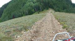 4x4 RZR vehicle climb down steep mountain train HD 0002 Stock Footage