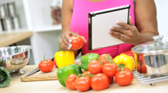 Close Up African American Lady Checking Weight Loss Sites Online Stock Footage