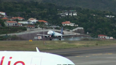 Sata Airlines landing at Madeira airport Stock Footage