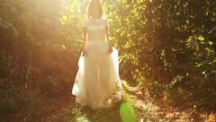 Beautiful Vintage Fashion Woman Fairy Tale Forest Bride Concept Stock Footage