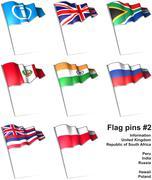 Flag pins 2 - stock illustration