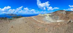 panoramic view of volcano crater and lipari islands, sicily - stock photo