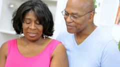 Head Shoulders Older African American Couple Domestic Kitchen - stock footage