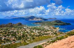 Landscape view of lipari islands in sicily, italy Stock Photos