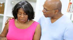 Close Up Senior African American Couple Kitchen Stock Footage