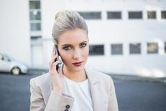 Stock Photo of Serious stylish businesswoman having a phone call