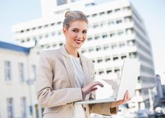 Happy gorgeous businesswoman working on laptop Stock Photos