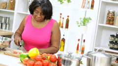 Senior Female Preparing Healthy Organic Vegetables Stock Footage
