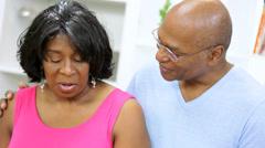 Head Shoulders Ethnic Seniors Home Kitchen - stock footage