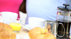 Hands Mature African American Couple Breakfast Stock Footage