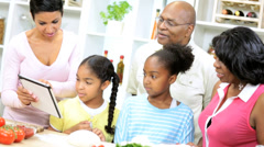 African American Girls Grandparents Home Kitchen Stock Footage