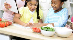 Ethnic Children Family Wireless Tablet Cooking Apps Stock Footage