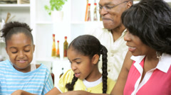 Young Girls Kitchen African American Grandparents Stock Footage