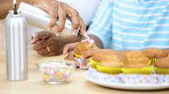 Young Ethnic Girls Icing Cakes Kitchen Grandmother Stock Footage