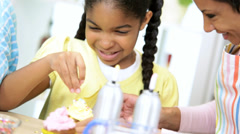 Hands Ethnic Young Girl Kitchen Helping Mix Cake Stock Footage