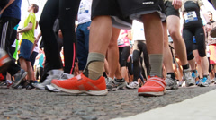 Close Up Shoes City Marathon runners 2 Stock Footage