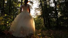 Beauty Princess Fairy Tale Running Forest Young Woman HD Stock Footage
