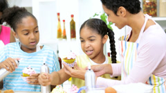 Little Ethnic Girls Fun Home Baking Lesson Stock Footage