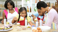 African American Girls Mom Grandma Baking Lesson - stock footage