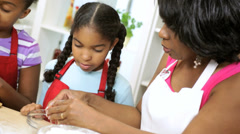 Ethnic Grandmother Young Girls Baking Home Kitchen Stock Footage