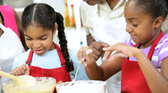 Cute African American Girls Fun Baking Home Kitchen Stock Footage