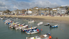 St Ives harbour beach boats timelapse. Stock Footage