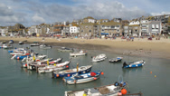 Stock Video Footage of St Ives harbour beach boats timelapse.