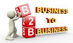 3d man and b2b cubes - stock illustration