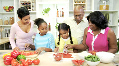 Ethnic Children Family Kitchen Mother Grandparents Stock Footage