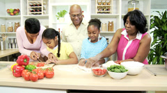 African American Family Preparing Food Kitchen Stock Footage