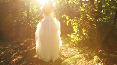 Princess Dress Woman Running Fairy Tale Forest Concept HD Stock Footage