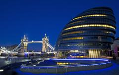 City Hall, Tower Bridge and the River Thames in London - stock photo