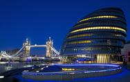 Stock Photo of City Hall, Tower Bridge and the River Thames in London