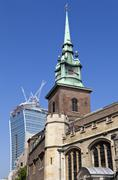 All Hallows by the Tower Church and the Walkie Talkie Builing in London. - stock photo