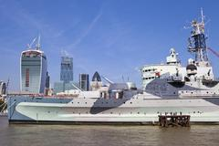 HMS Belfast Moored on the River Thames in London. Stock Photos