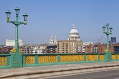 View from Southwark Bridge in London. - stock photo